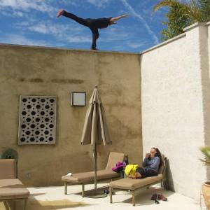 yoga on the wall